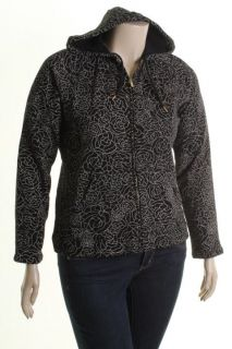 Liz Claiborne New Black Printed Long Sleeves Hooded Full Zip