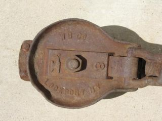 Antique Cast Iron Industrial Pulley Huge Hook Lockport NY WB Co