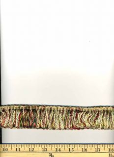 Loop Brush Fringe Decorative Trim Red Green Cream 1 75