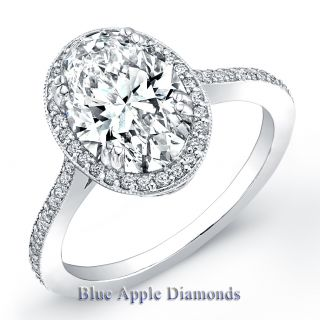 90ct Oval Cut Diamond Engagement Micro Pave Ring GIA