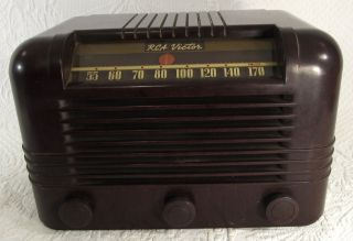 Vintage Working 1940 1942 RCA Victor Bakelite Am Tube Radio Model 15x