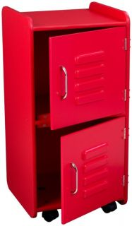KidKraft Medium Kids Wood Storage Locker w Wheels Red 14322