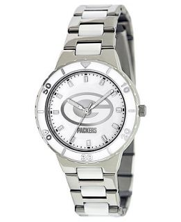 Game Time Watch, Womens Green Bay Packers White Ceramic and Stainless