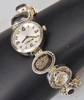 SS Gemstone Black Bracelet Watch LORI BONN BONN Charm Bracelet OOAK