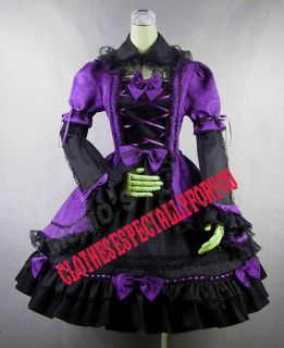 Sweet Lolita Cute Bows Stunning Lace Purple Dress 2P L
