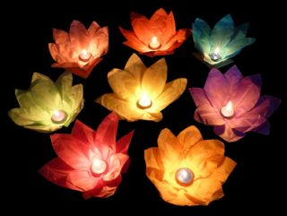FLOATING FIRE LIGHT UP LOTUS FLOWER WISHING LANTERN LAMP KONGMING