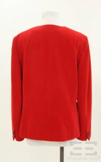 Louis Feraud Red Cashmere Wool Button Front Jacket Size US12