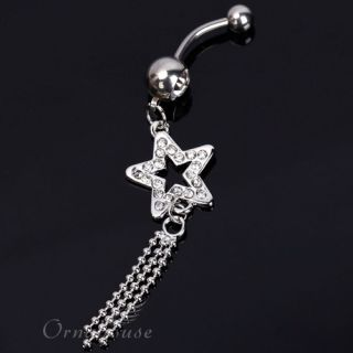 Tassel Clear Rhinestone Navel Belly Button Ring Body Jewelry