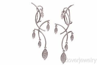 Modern 1 02Ct Diamond 18K Gold Long Drop Clip Earrings 11 Grams