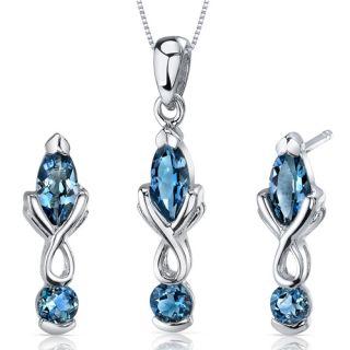 Marquise Sterling Silver London Blue Topaz Pendant Earrings Set