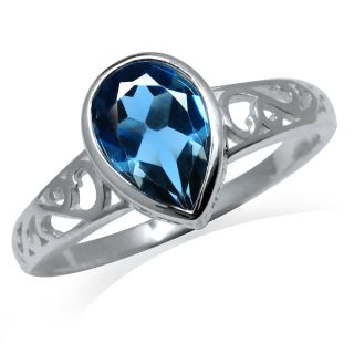 88ct Natural London Blue Topaz Sterling Silver Filigree Solitaire Ring