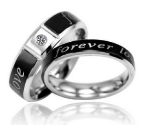Stainless Steel Wedding Band Forever Love Engraved w/GEM Couple Rings