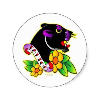 Black Panther Tattoo Round Sticker