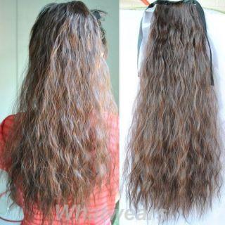 1pcs Long Corn Curly Hair Extension Tie Band Ponytail 6 Colors 55cm