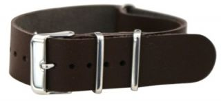 Brown Leather NATO Style Military Watch Band Timex Solid Strap