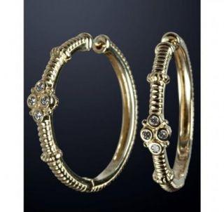 Judith Ripka 14k Gold Diamond Hoop Earrings $1289 00