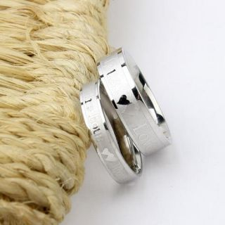 Love Titanium 316L Steel Promise Ring Set Couple Wedding Men Women
