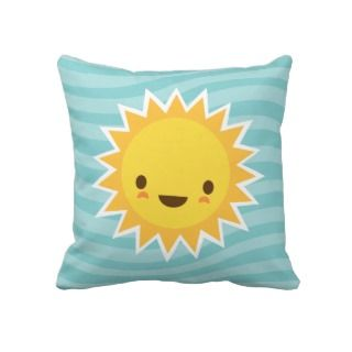 Cute kawaii sun cartoon character on blue throw pillow