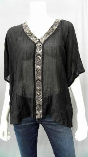 Love Sam Misses XS Cotton Blouse Top Black Beaded Short Sleeve Shirt