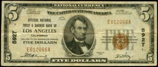 Los Angeles California Citizens Bank 1929 5927 National Currency