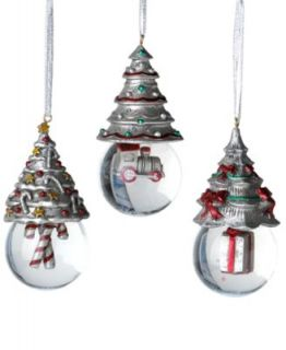 Towle Christmas Ornaments, Set of 3 Christmas Tree Snow Globes