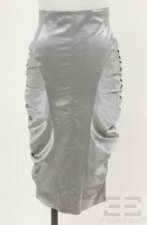 Luca Luca Silver Satin Ruched Pencil Skirt Size 40