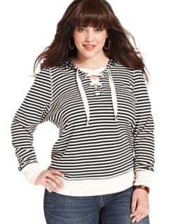 American Rag Plus Size Three Quarter Sleeve Lace Cardigan & Destructed
