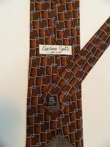 Luciano Gatti Mens Designer Silk Neck Tie Made in Italy Brown Orange