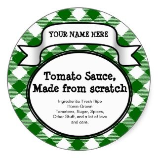 Personalized Canning Jar/Lid Label, Green Gingham Stickers