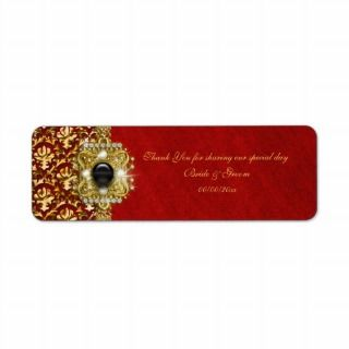 Elegant damask black red gold custom return address labels