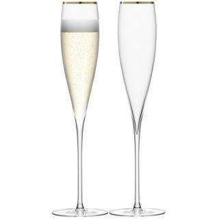 LSA Inernaional 2 Elegan Gold Rim Savoy Champagne Flues Glasses