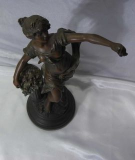 Original L F Moreau Spelter Bronze Finish Sculpture  Nymphe Aux Roses