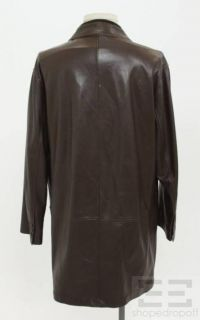 Loro Piana Mens Brown Leather Button Front Jacket Size 54