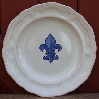 Vintage Henriot Quimper France Pottery Fleur de Lis Hand Painted