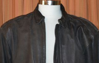Luis Alvear Brown Leather Bomber Jacket Mens Medium
