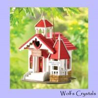 New Romantic Red & White Wedding Chapel Theme Wooden Birdhouse Garden