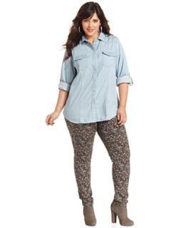 American Rag Plus Size Long Sleeve Chambray Polka Dot Shirt & Floral