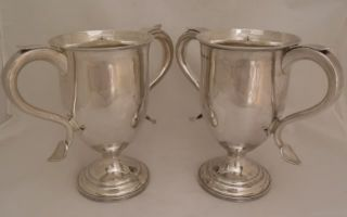 ANTIQUE STERLING SILVER LOVING CUPS (PAIR) SHEFFIELD 1855   HAWKSWORTH