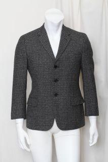 Yves Saint Laurent Mens Black Check Tweed Three Button Blazer Jacket