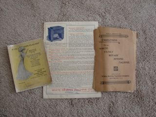 White Family Rotary Sewing Machine Treadle Pedal + Manuals Accessories