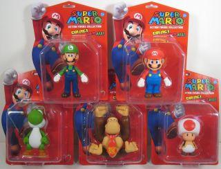 Super Mario Brothers 5 Vinyl Figure Set of 5 Luigi Yos