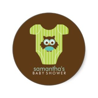 Hoot Owl Outfit Boy Baby Shower Round Stickers