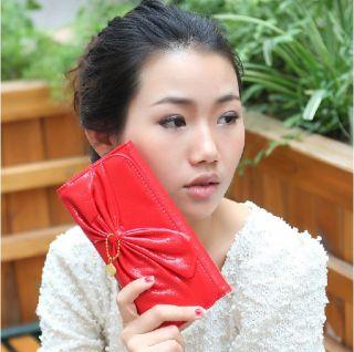 Lovely Bowknot Women Girls Bifold Clutch Leather Purse Long Wallet Bag