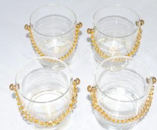 Set of 4 Unique Lowball Cocktail Glasses w Chain Alcohol Liquor