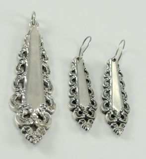 Lunt Florentine Scroll Sterling Silver Flatware Pendant Earrings Set