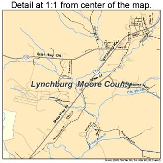 Lynchburg Moore County Tennessee Street Road Map TN