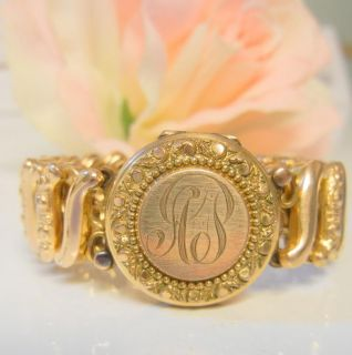 Antique Gold Filled Carmen Sweetheart Locket Bracelet RARE