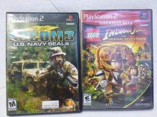 Lot of 2 PS2 Games Lego Indiana Jones, SOCOM 3 U.S. Navy Seals