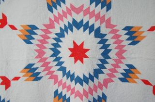 Vintage 20s Broken Star Hand Stitched Antique Quilt ~LUSH QUILTING