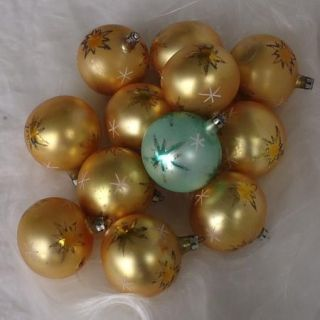 Vintage Blown Glass Fantasia Poland Christmas Ornaments Gold Space Age